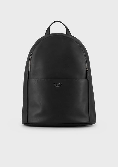 Backpack in boarded leather with front pocket