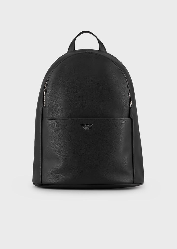 77295f06799f Backpack in boarded leather with front pocket
