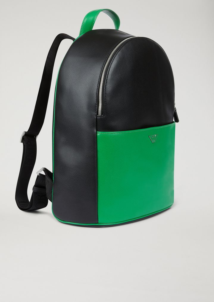 4c1c56947d ... boarded leather backpack with logo straps. EMPORIO ARMANI