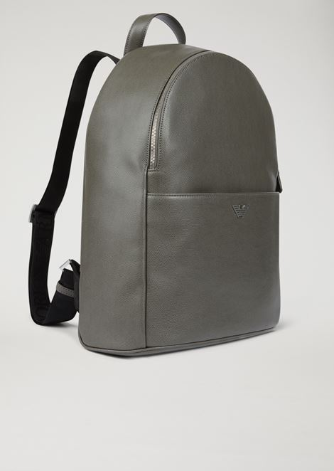 Printed and boarded leather backpack with logo straps