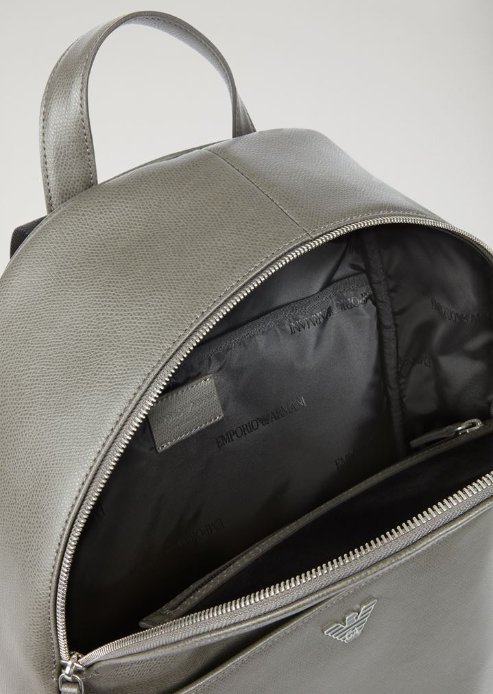 7a04107588 Printed and boarded leather backpack with logo straps