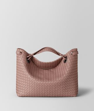 BORSA GARDA MEDIA IN INTRECCIATO NAPPA DECO ROSE