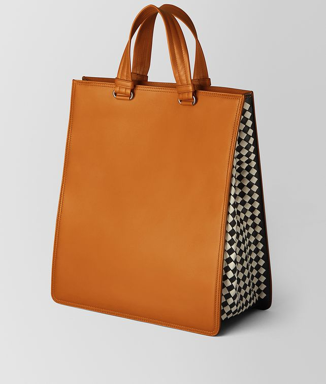 BOTTEGA VENETA ORANGE CALF INTRECCIATO CHECKER TOTE Tote Bag Man fp