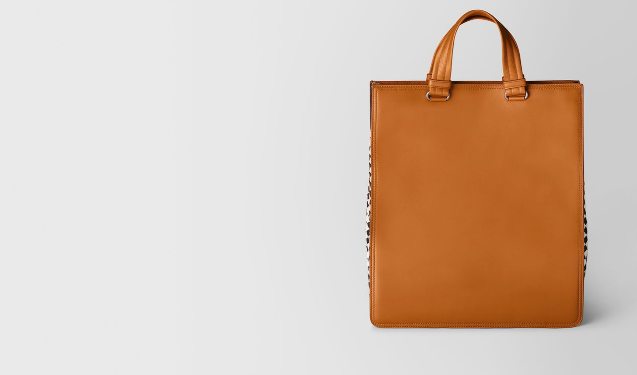 orange calf intrecciato checker tote landing