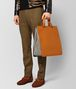 BOTTEGA VENETA ORANGE CALF INTRECCIATO CHECKER TOTE Tote Bag Man ap