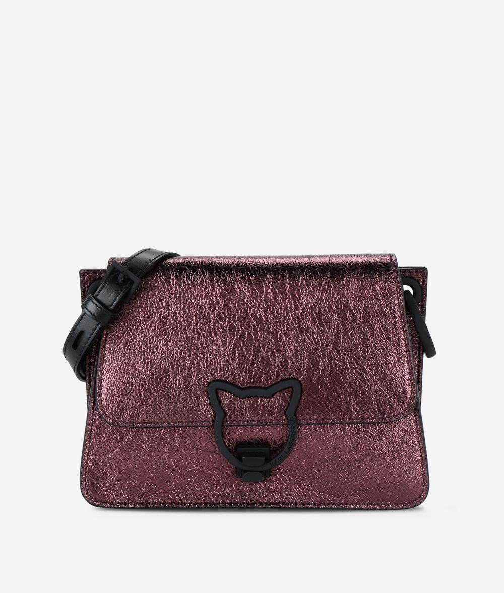 KARL LAGERFELD K/Kat Lock Umhängetasche aus Metallic Leder Crossbody Bag Damen f