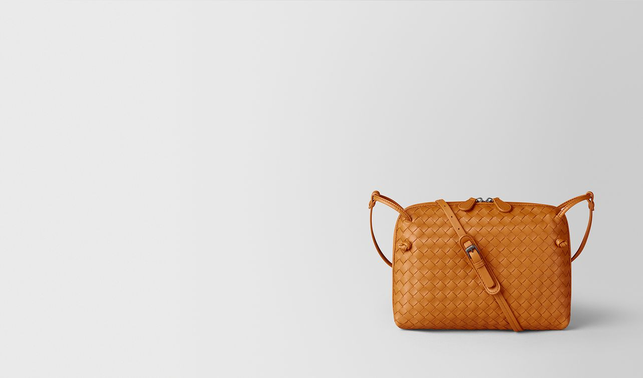 orange intrecciato nappa nodini bag landing