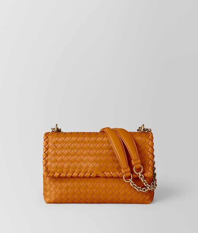 BOTTEGA VENETA BORSA OLIMPIA IN INTRECCIATO NAPPA ORANGE Shoulder Bag Donna fp