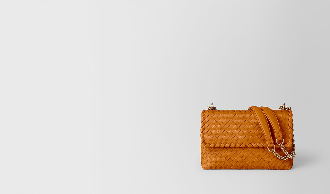 orange intrecciato nappa olimpia bag landing