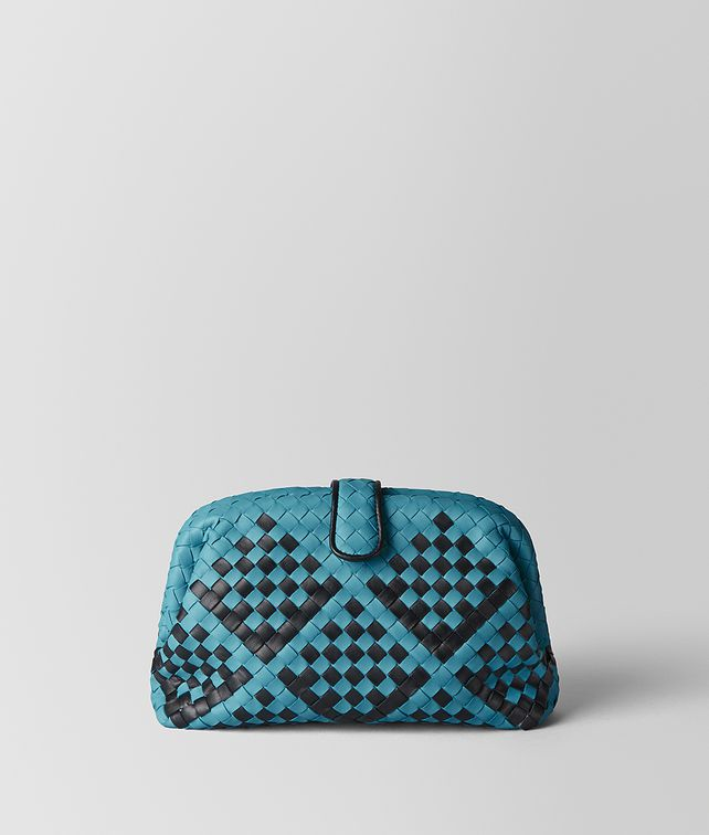 BOTTEGA VENETA AQUA/NERO INTRECCIATO NAPPA CHECKER CHECK THE LAUREN 1980 Clutch Woman fp