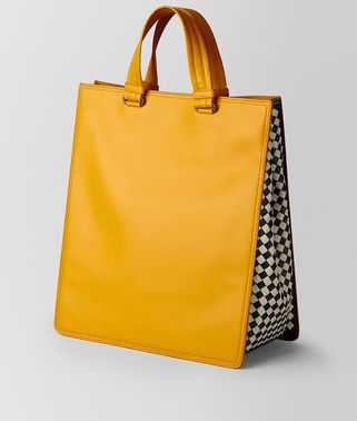 INTRECCIATO CHECKER TOTE BAG AUS KALBSLEDER IN SUNSET