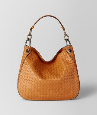 SAC LOOP EN CUIR NAPPA INTRECCIATO ORANGE
