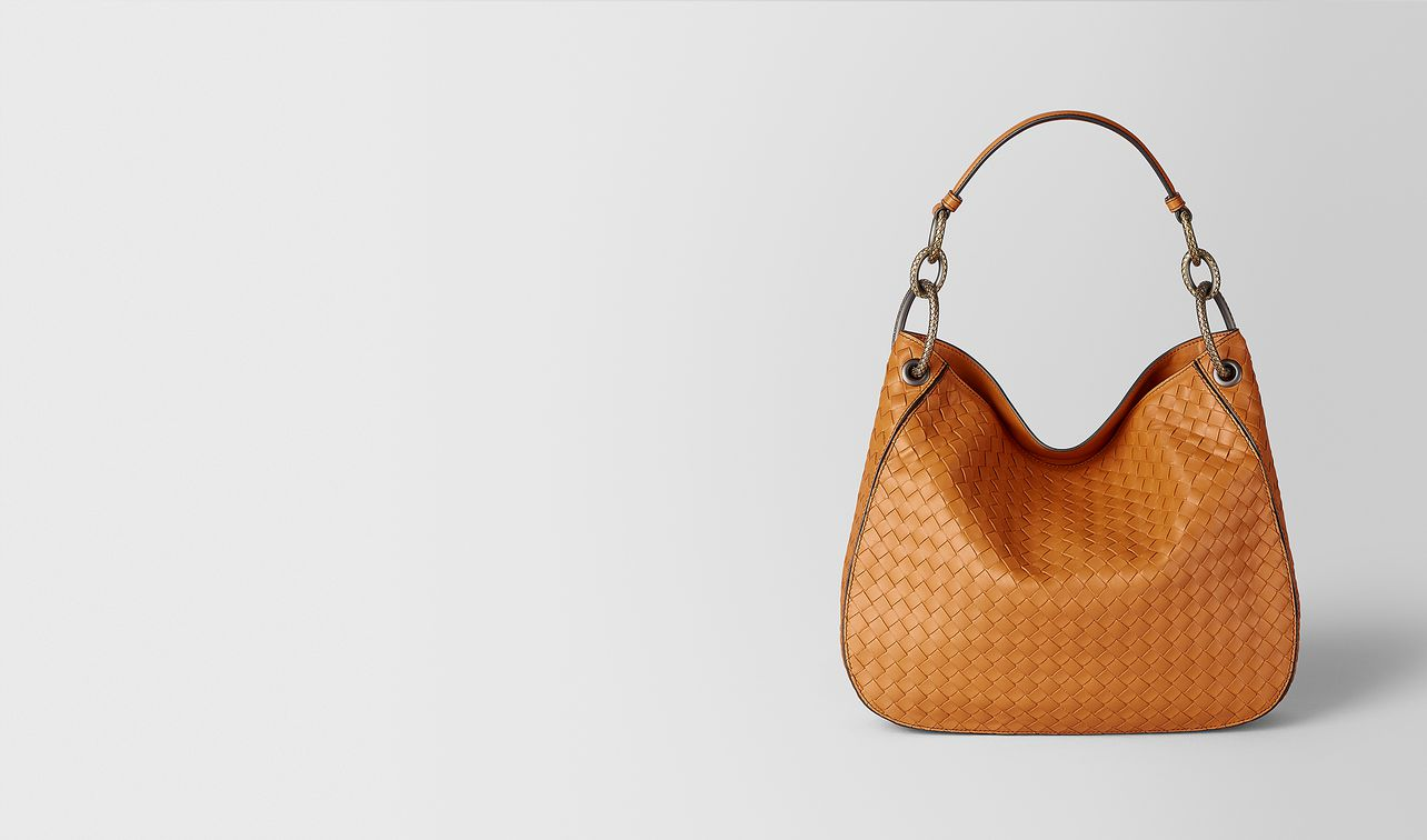 sac loop en cuir nappa intrecciato orange landing