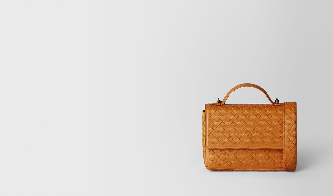 orange intrecciato nappa alumna bag landing