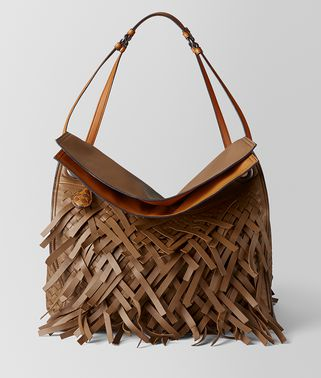 DARK LEATHER INTRECCIATO FRINGE TOTE