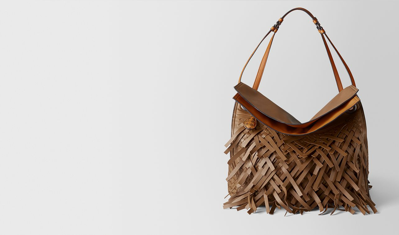 dark leather intrecciato fringe tote landing