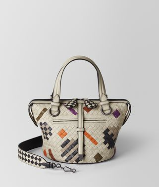 SAC TAMBURA EN CUIR NAPPA MULTICOLOR AVEC MOTIF INTRECCIATO ABSTRACT
