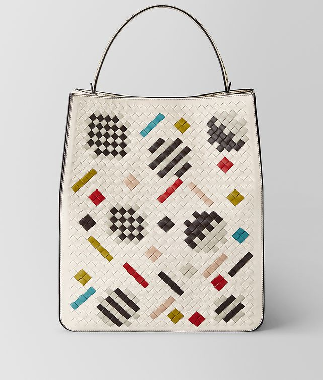 BOTTEGA VENETA MULTICOLOR INTRECCIATO ABSTRACT FAÇADE TOTE Tote Bag [*** pickupInStoreShipping_info ***] fp