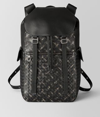 NERO/DARK LEATHER INTRECCIATO MICRODOTS SASSOLUNGO BACKPACK