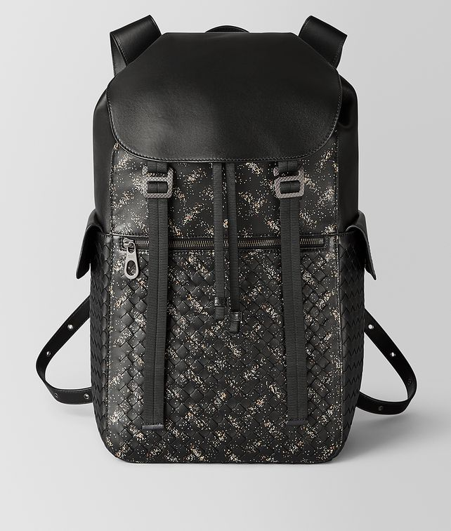 BOTTEGA VENETA NERO/DARK LEATHER INTRECCIATO MICRODOTS SASSOLUNGO BACKPACK Backpack Man fp
