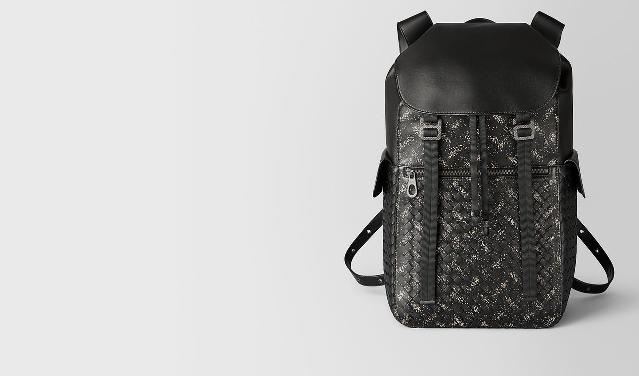 nero/dark leather intrecciato microdots sassolungo backpack landing