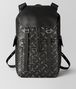 nero/dark leather intrecciato microdots sassolungo backpack Front Portrait