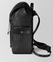 nero/dark leather intrecciato microdots sassolungo backpack Right Side Portrait