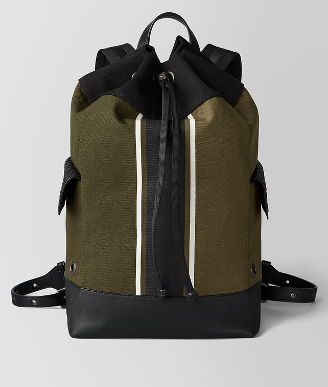 BOTTEGA VENETA MUSTARD/NERO CANVAS BACKPACK Backpack [*** pickupInStoreShippingNotGuaranteed_info ***] fp