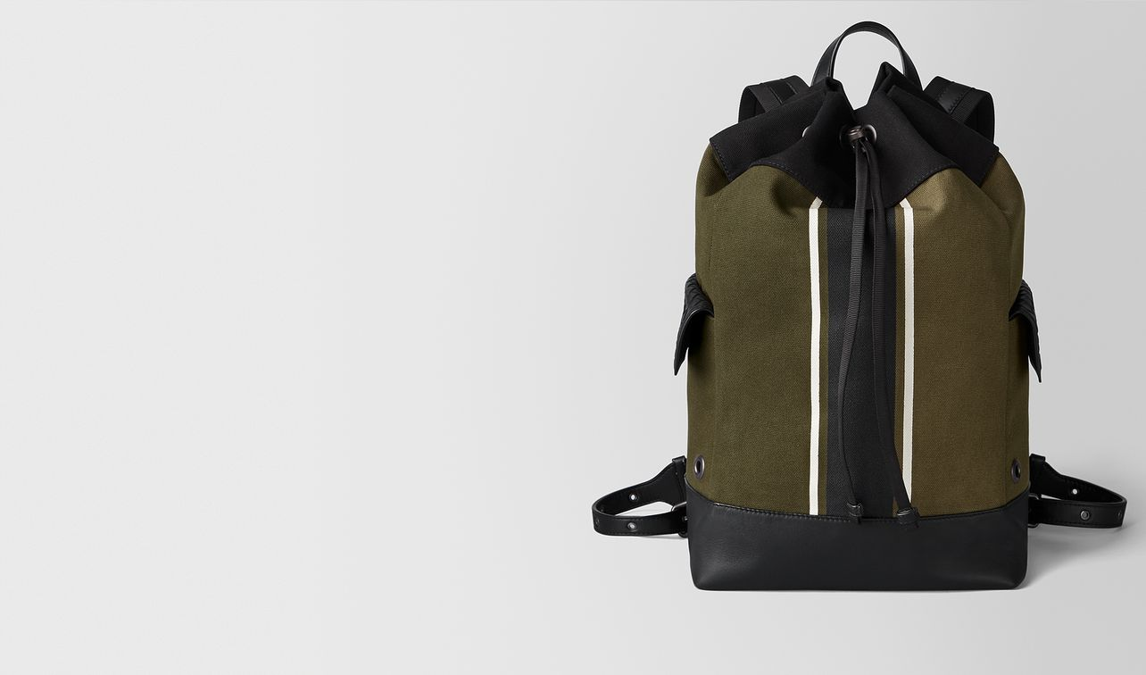 mustard/nero canvas backpack landing