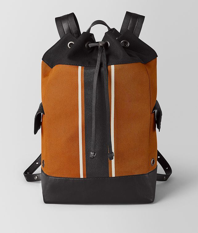 BOTTEGA VENETA ORANGE/NERO CANVAS BACKPACK Backpack Man fp