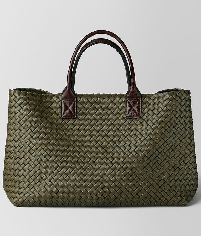 BOTTEGA VENETA MUSTARD/EBANO NAPPA/CROCODILE CABAT Tote Bag [*** pickupInStoreShippingNotGuaranteed_info ***] fp