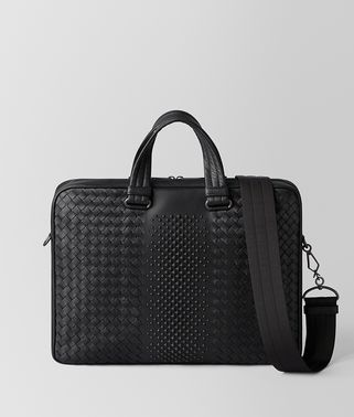BORSA BUSINESS IN INTRECCIATO NAPPA NERO