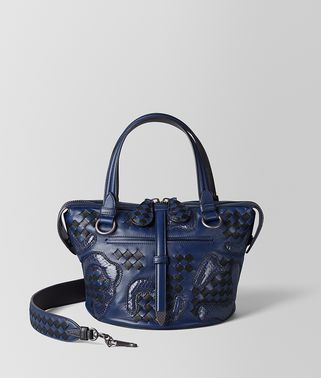 BORSA TAMBURA IN NAPPA E AYERS PAISLEY CHECKER ATLANTIC/NERO