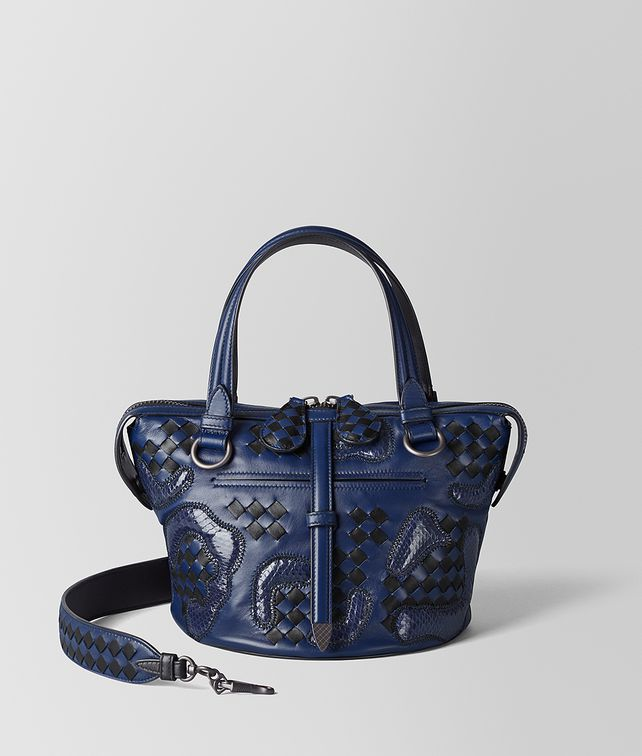 BOTTEGA VENETA ATLANTIC/NERO NAPPA/AYERS PAISLEY CHECKER TAMBURA BAG Top Handle Bag [*** pickupInStoreShipping_info ***] fp