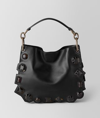 BORSA LOOP GEMS IN VITELLO FRANCESE E NAPPA NERO
