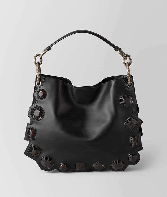 05873649fd BOTTEGA VENETA NERO FRENCH CALF NAPPA GEMS LOOP BAG Hobo Bag