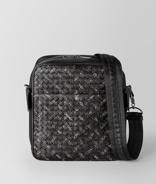 NERO/DARK LEATHER INTRECCIATO MICRODOTS MESSENGER
