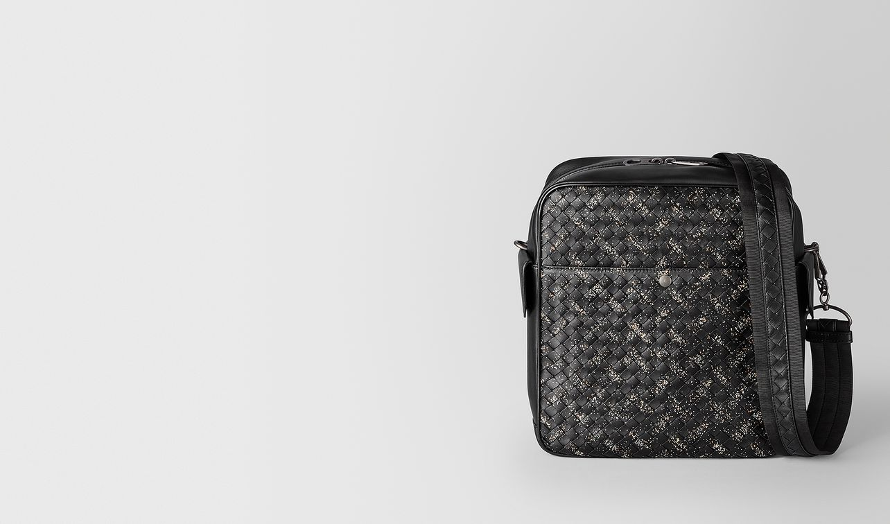 nero/dark leather intrecciato microdots messenger landing