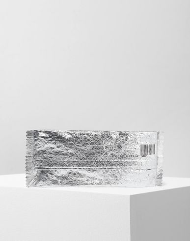 MM6 MAISON MARGIELA Clutch [*** pickupInStoreShipping_info ***] Crinkled silver leather clutch f