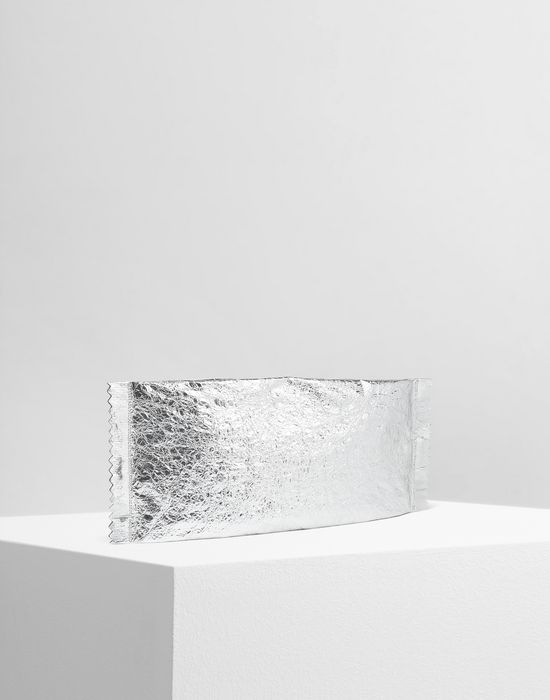 MM6 MAISON MARGIELA Crinkled silver leather clutch Clutch [*** pickupInStoreShipping_info ***] r