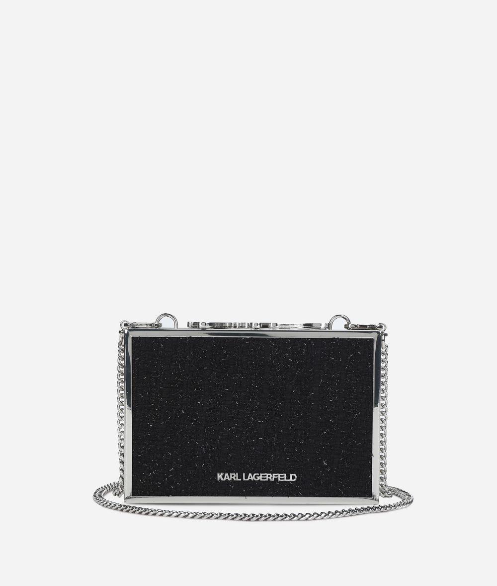 KARL LAGERFELD K/Pins Box-Clutch mit Tweed  Minaudière Damen d