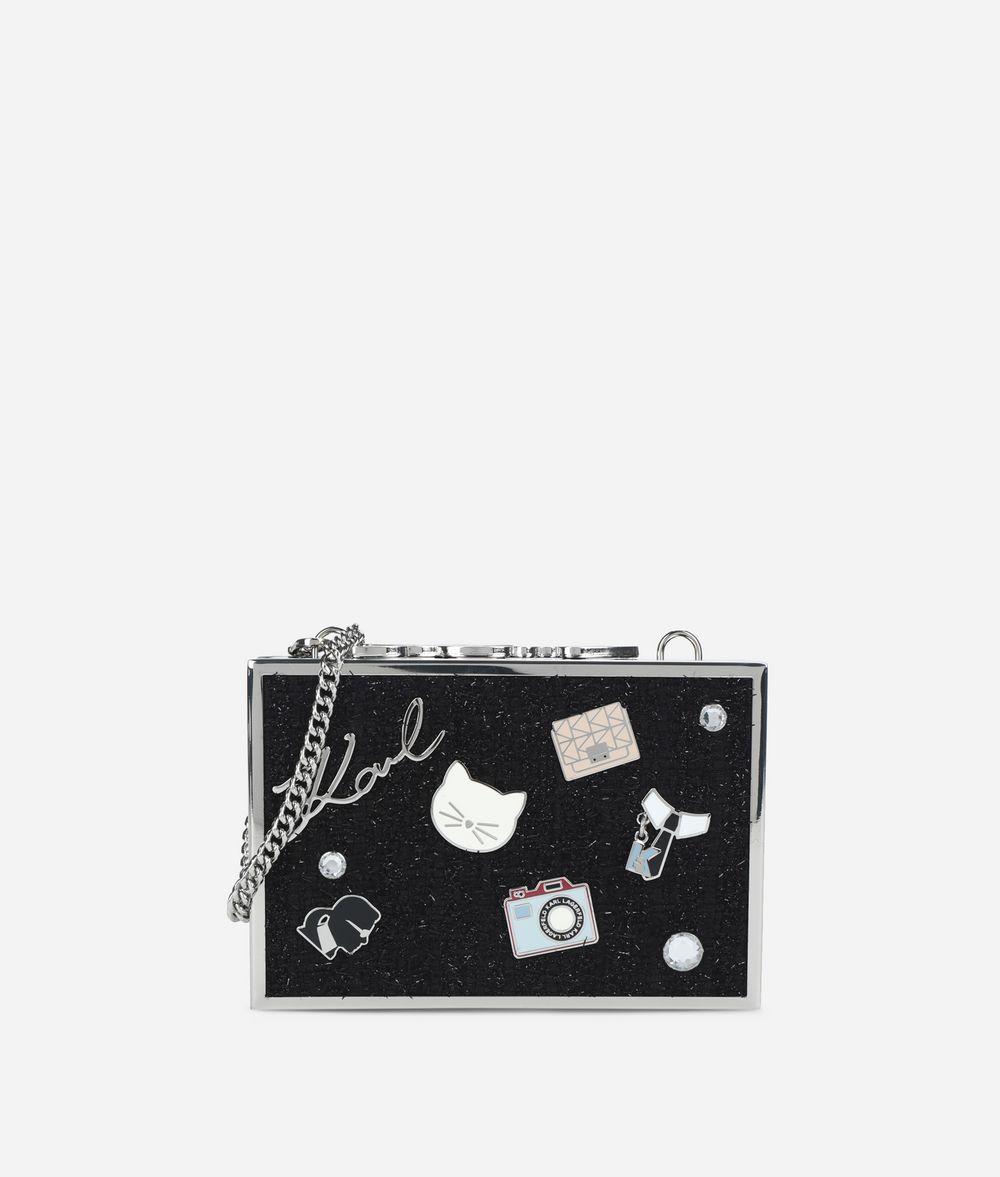 KARL LAGERFELD K/Pins Box-Clutch mit Tweed  Minaudière Damen f