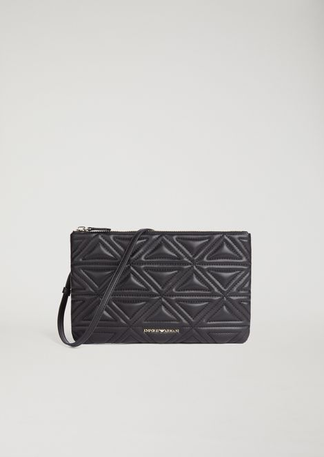 1d29257cc433 Clutch in quilted faux leather with detachable shoulder strap