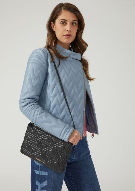 Clutch in quilted faux leather with detachable shoulder strap