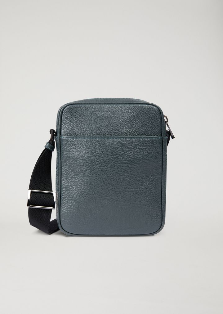 029b2ee8d5586 Crossbody bag in grained leather with pressed logo   Man   Emporio Armani