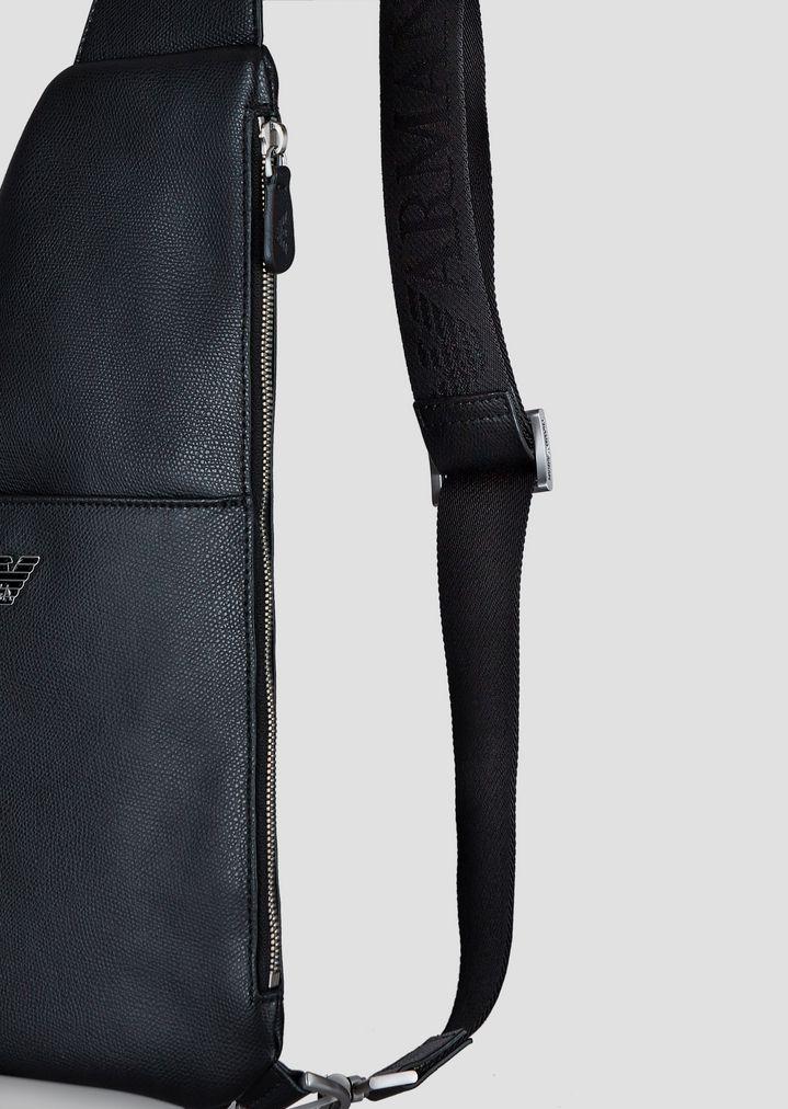 c49da47843 ... Single strap backpack in boarded leather with metal logo. EMPORIO ARMANI
