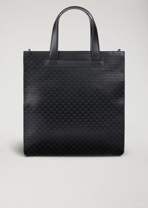 Leather tote bag with shoulder strap and all-over logo print