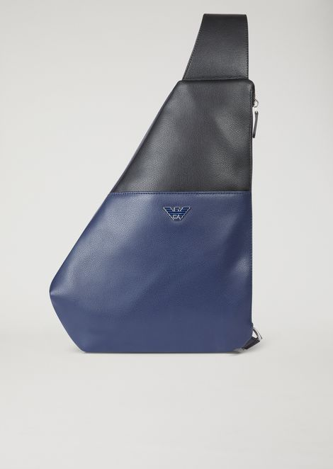 Single strap backpack in two-colour leather with metal logo