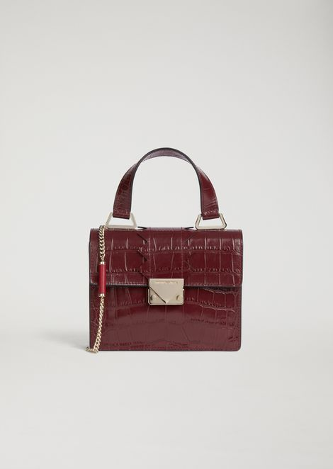 Mini-bag in croc print leather with shaped detail and shoulder strap