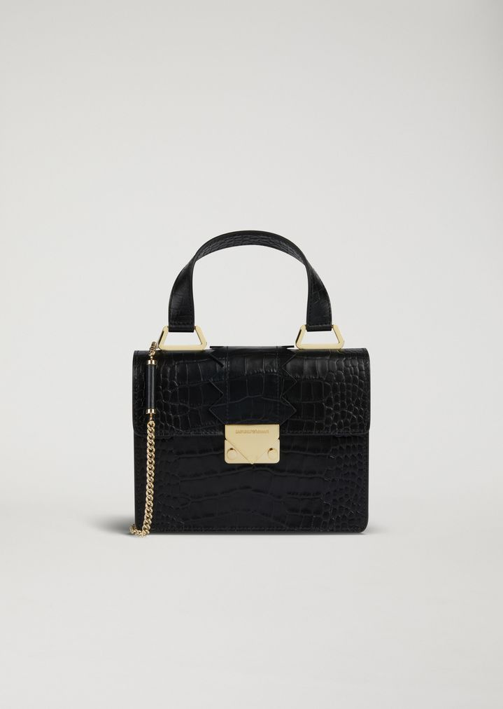07e3bc709a169 Mini-bag in croc print leather with shaped detail and shoulder strap ...